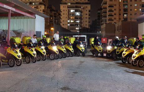 """רוכבים ומצילים חיים: 15 אופנועי עזרה ראשונה נוספו ליחידת האופנוענים של מד""""א באיזור השרון"""